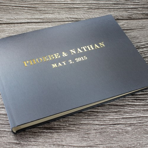 Personalised photo booth guest book in silver grey satin