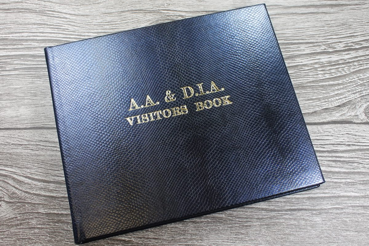 personalised leather visitors book
