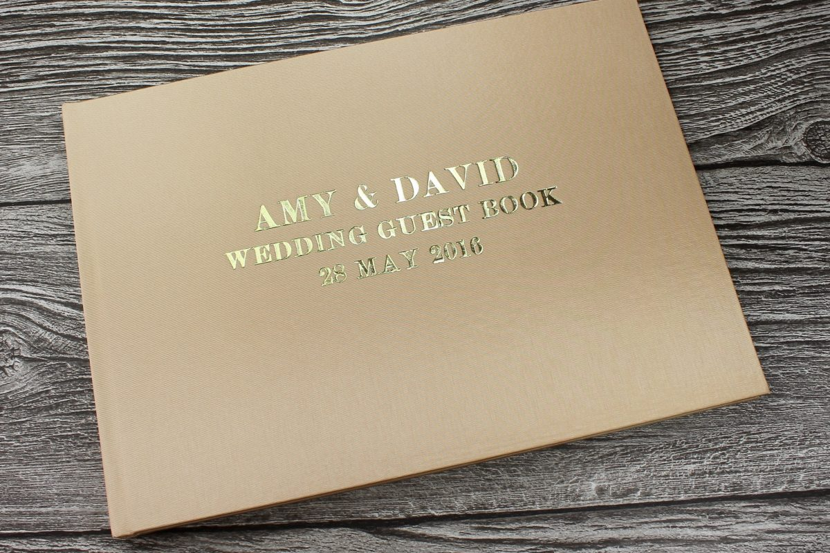 gold satin guest book