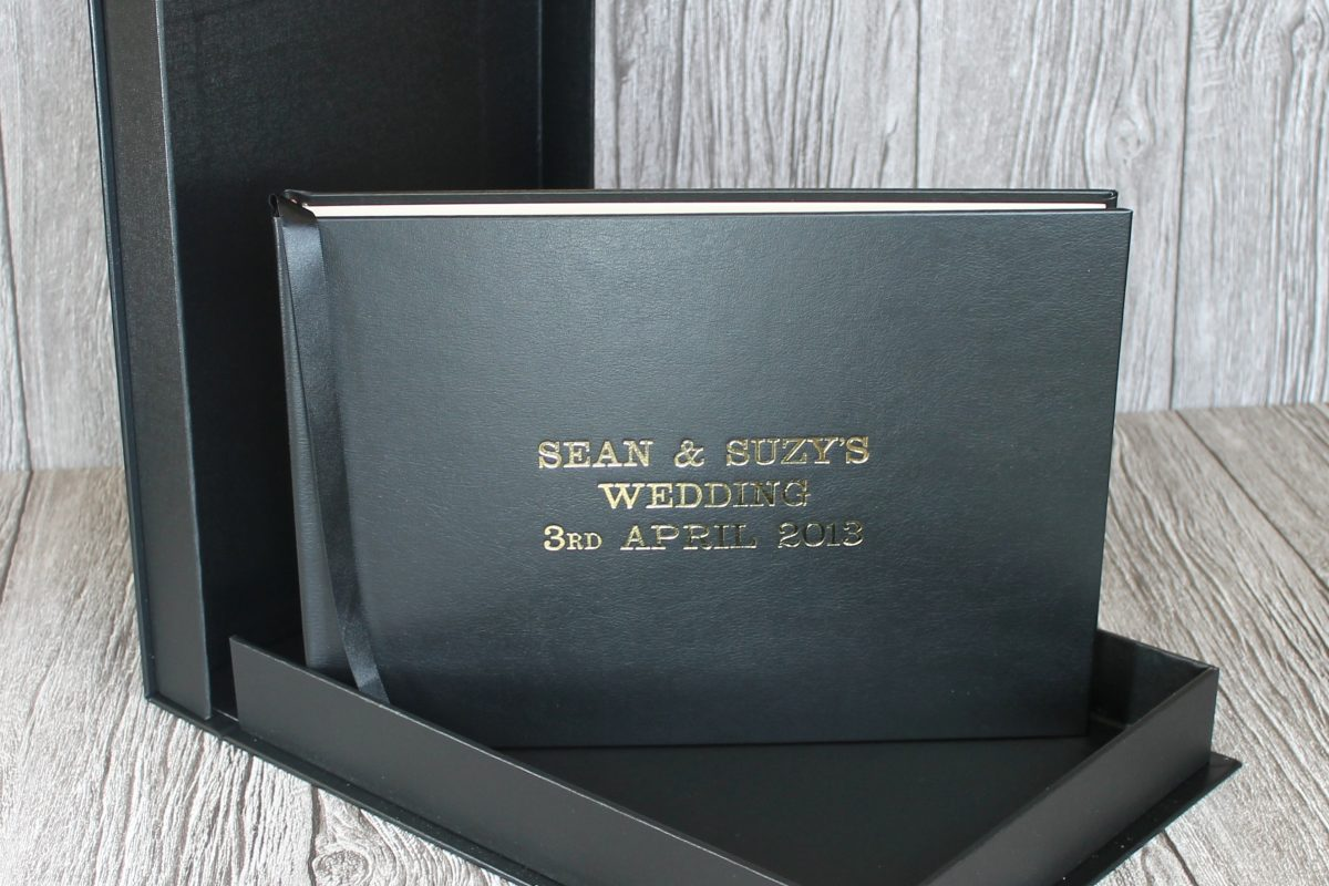 Black Leather Wedding Photo Album & Drop Back Box