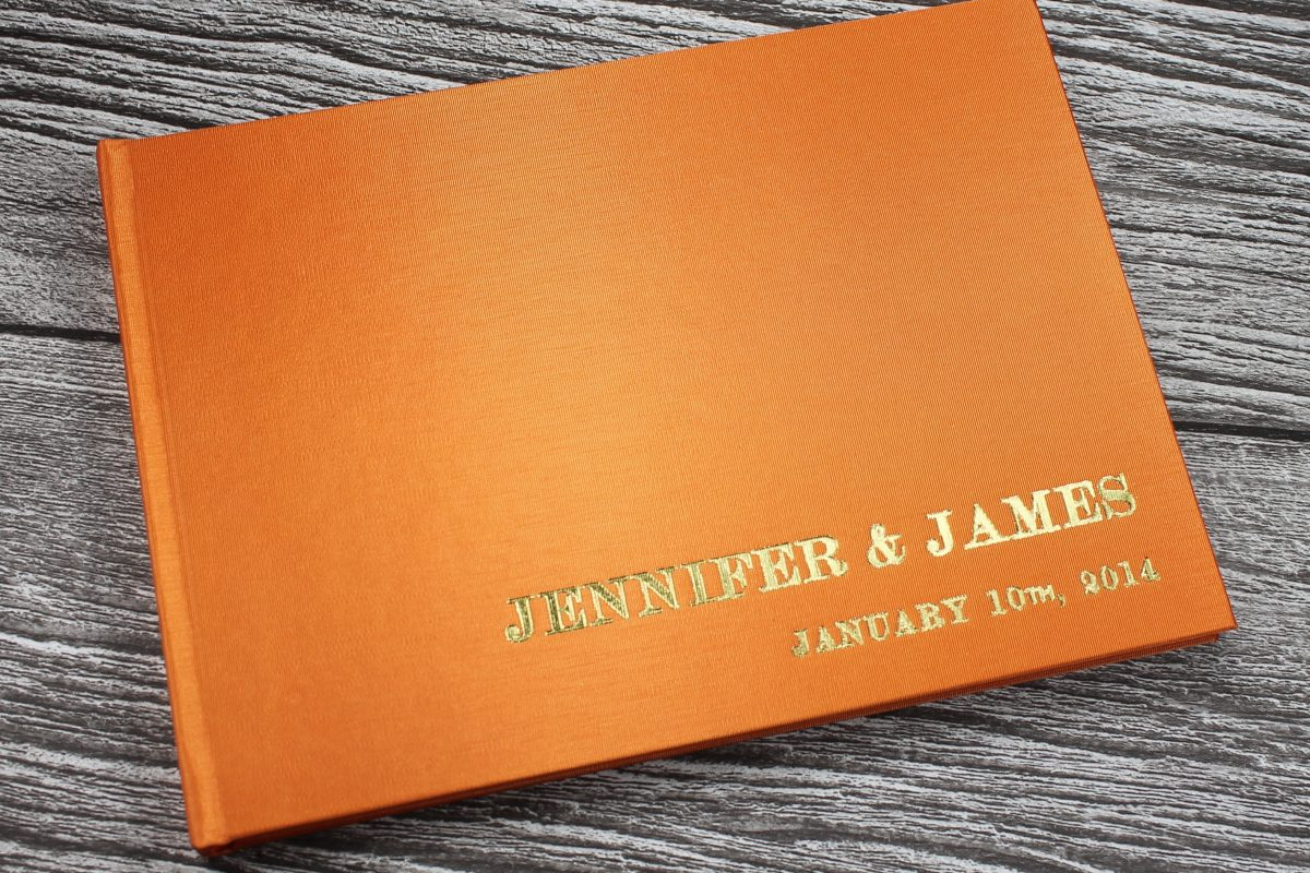 orange wedding guest books