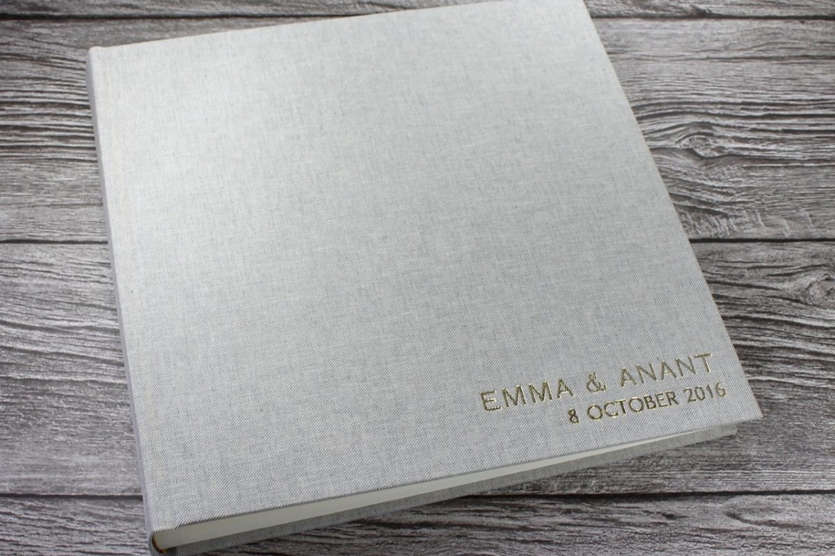 grey linen photo album